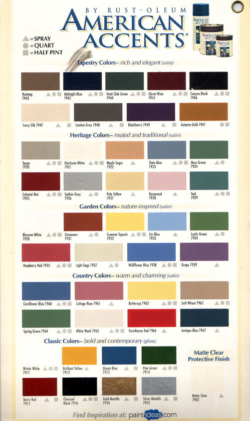 Rust oleum spray paint color chart car tuning